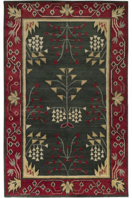 Dartington Superficial contents Rug - 5'x8', Forest Green