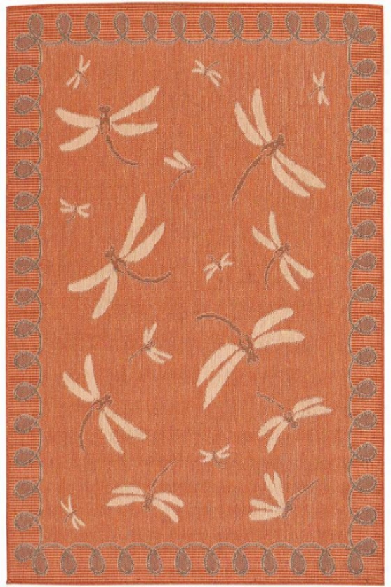 """dragonfly Rug - 7'10"""" Square, Coral"""