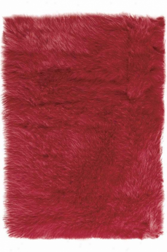 Faux Sheepskin Area Rug - 4'x6', Red