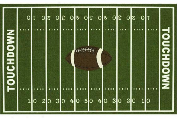 """football Field  Area Rug - 4'11""""x7', Green"""