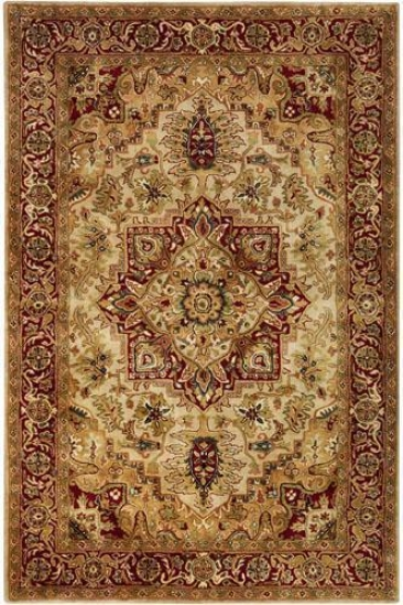 """heriz I Area Rug - 4'6""""x6'6"""" Oval, Gold"""