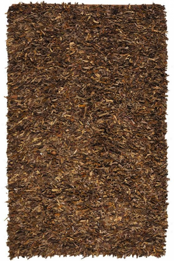 Leather Shag Area Rug - 8' Square, Brown
