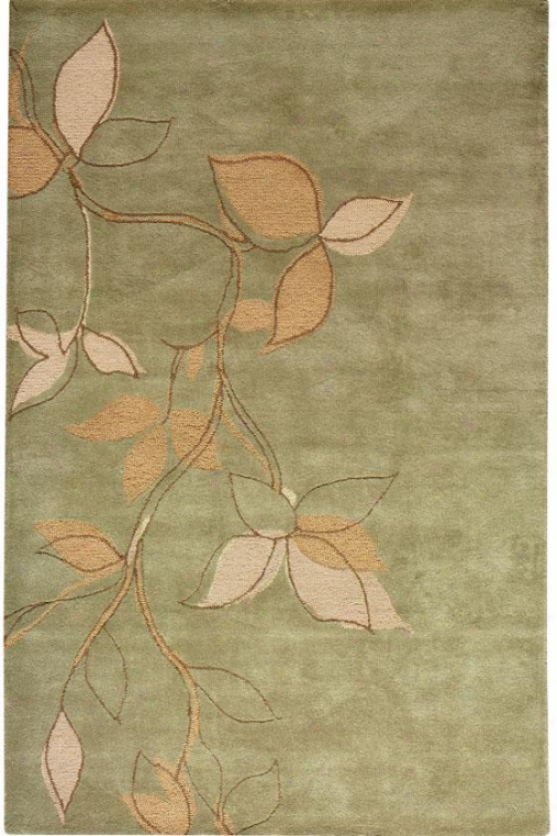 """kontaigne Collectino Leaves Area Rug - 5'3""""x8'3"""", Sage"""