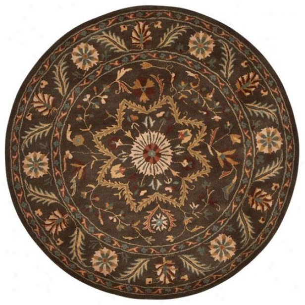 """montaigne Festival Yard Rug - 5'9"""" Round, Brown"""