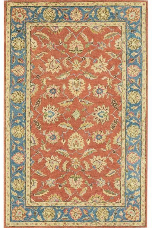 """old London Area Rug - 9'6""""x13'6"""", Coral"""