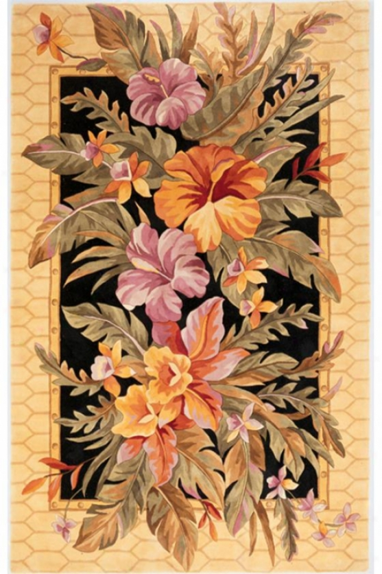 """orchids Area Rug - 3'3""""x5'3"""", Black"""