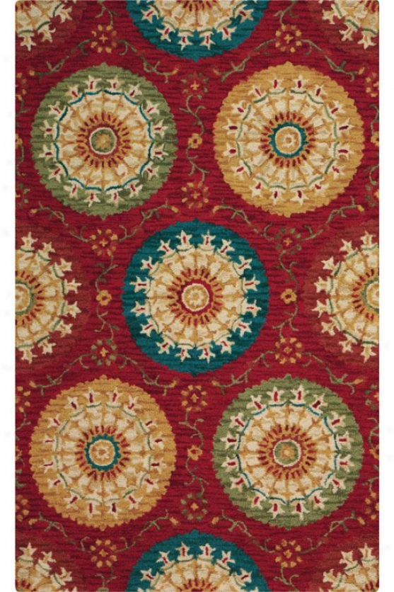 Paradise Area Rug -8 'xx11', Red