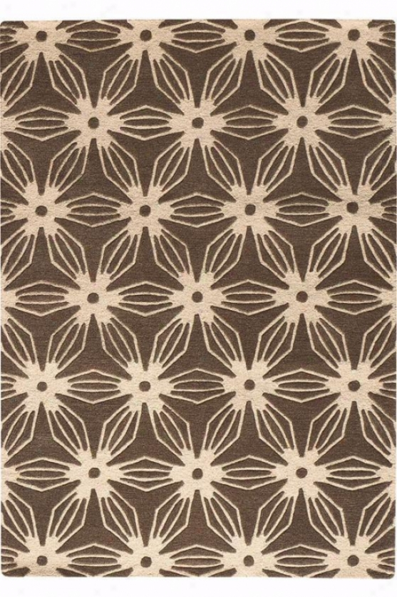 """pinwheel Yard Rug I - 5'9"""" Round, Brown"""
