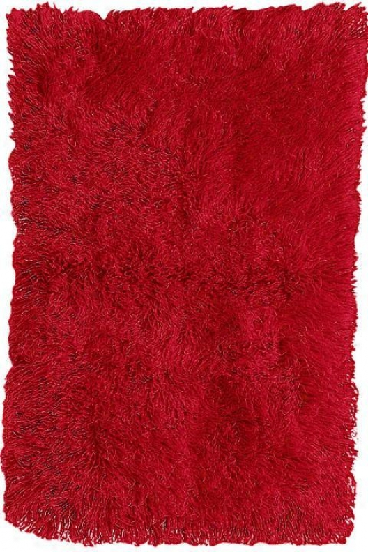 Premium Flokati Area Rug - 9'x12', Red