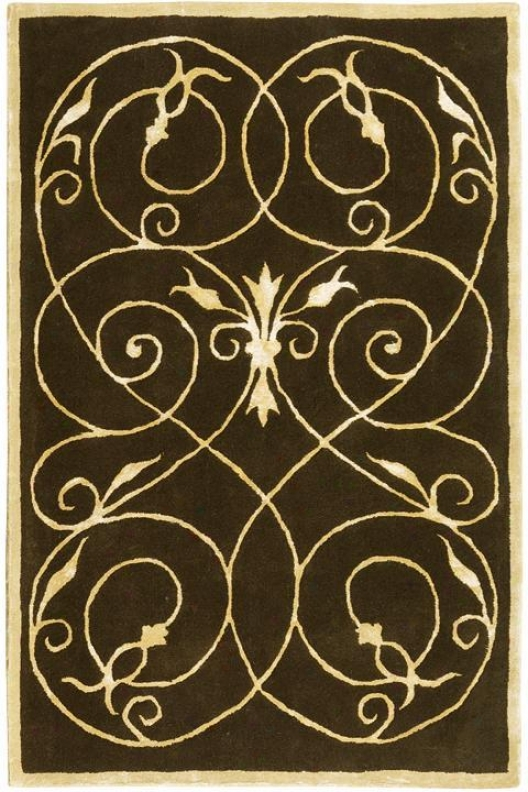 """scrolls Area Rug - 9'6""""x13'6"""", Chocolate Brown"""