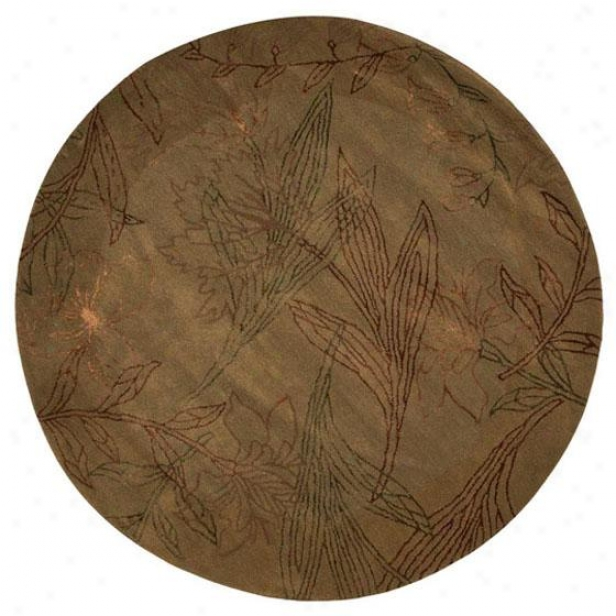 """stems Area Rug - 5'9"""" Round, Sage"""