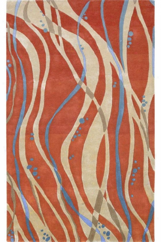 """tangled Area Rug - 2'6""""x8' Runnderr, Tangerine/tan"""