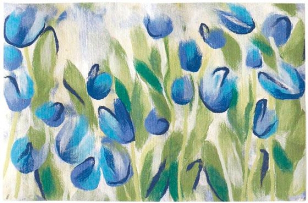 """tulips Mat - 20""""x30"""", Blue"""