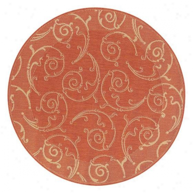 """vineyard All-weather Area Rug - 5'3"""" Round, Coral"""
