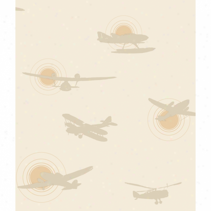Airplane Silhouettes Khaki Wallpaper