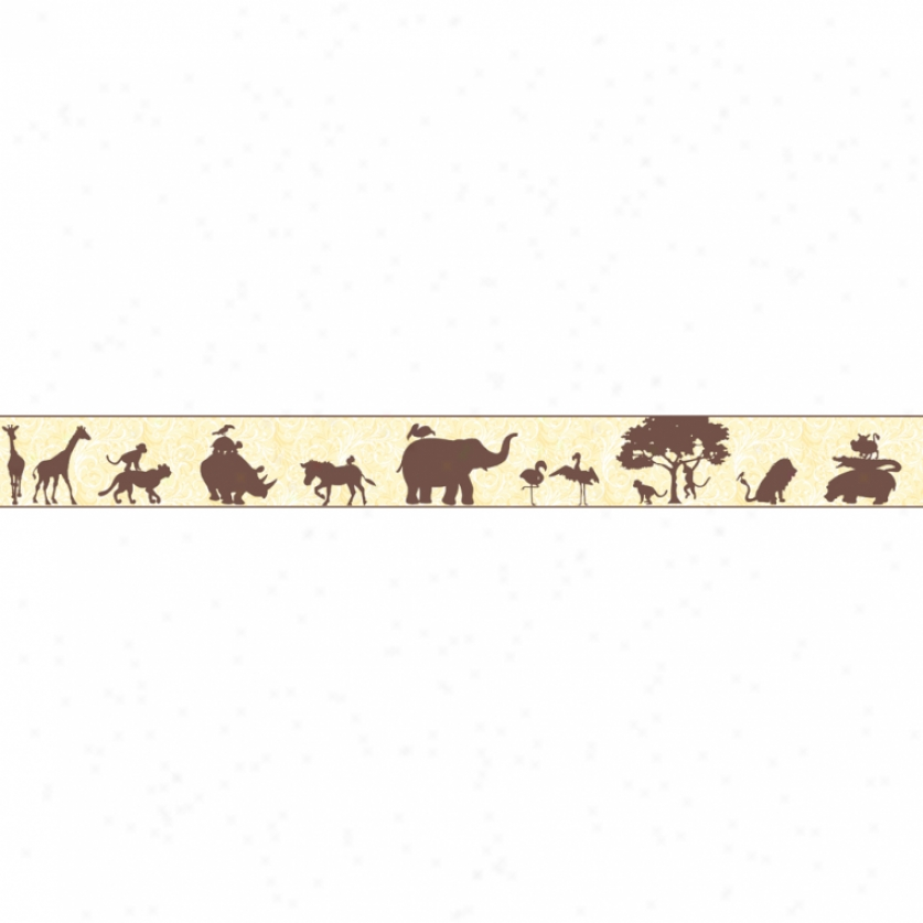 Animal Silhouettes Scroll Brown & Yellow Wallpaper Limit
