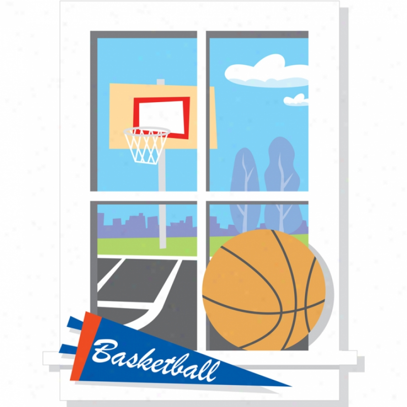 Backyard Bzsketball Window Giant Wall Decal