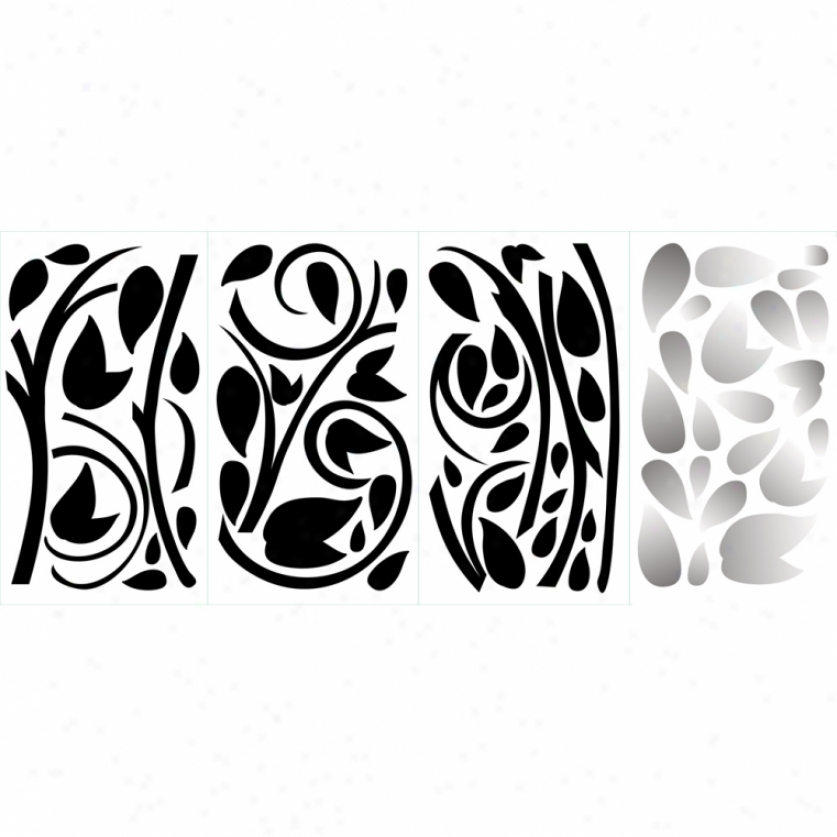 Black Sxroll Branch Wall Decals With Foil Leaves