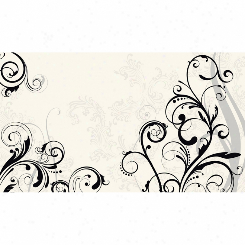 Black & White Scroll Xl Wallpaper Mural 10.5' X 6'