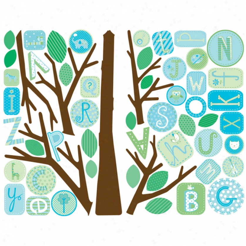 Blue Abc Tree Monster Wall Decals