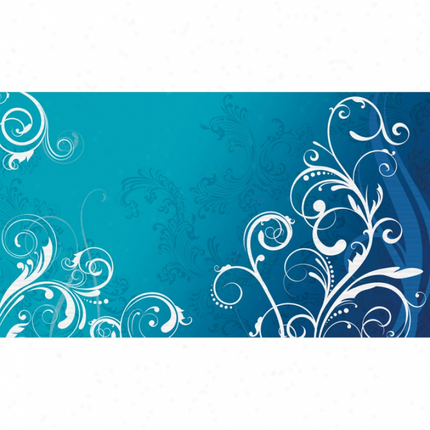 Blue & Happy Scroll Xl Wallpaper Mural 10.5' X 6'