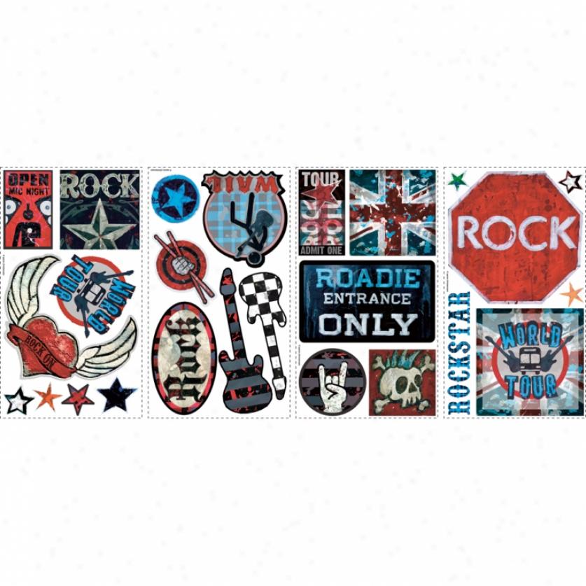 Boys Rock 'n' Roll Wall Decals