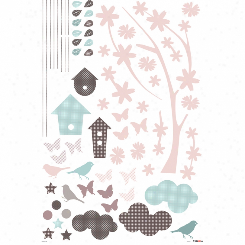 Branches & Bird Houses Wall Decals