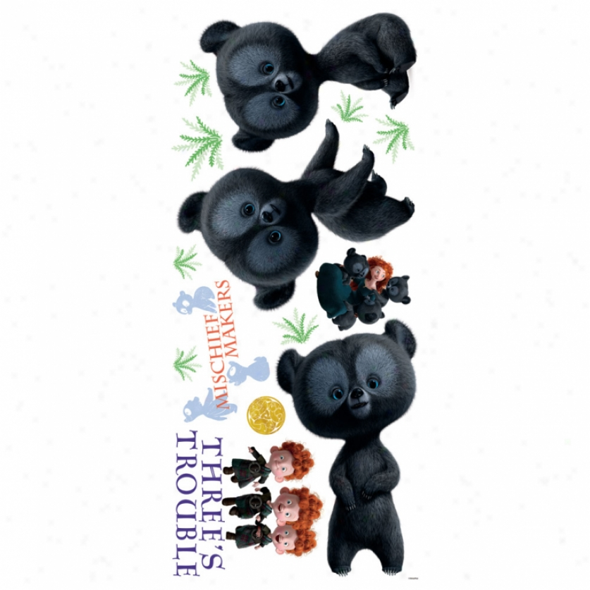 Brave Three Brother Bears Giant Wall Decals