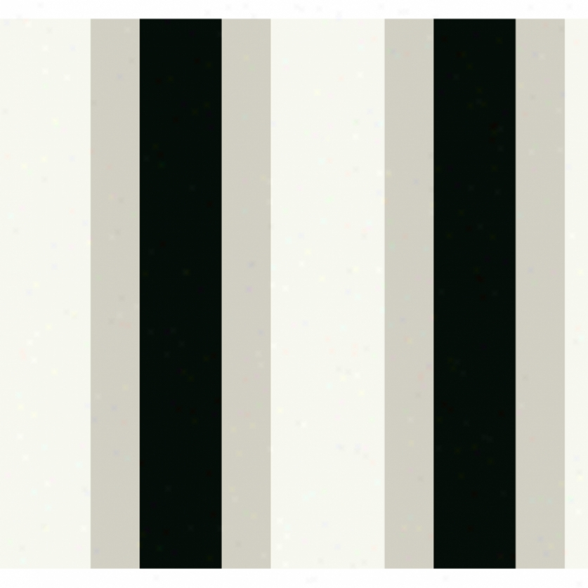 Broad Stripe Black & Gray Wallpaper