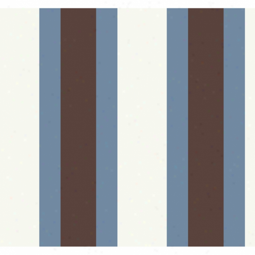 Brkad Stripe Brown & Blue Wallpaper