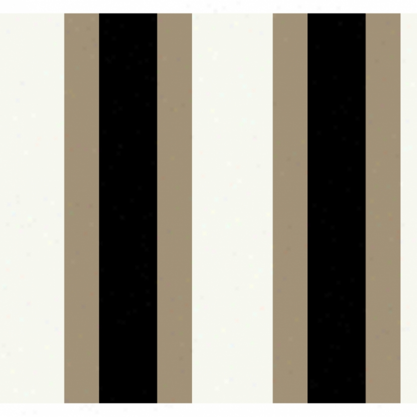Broad Stripe Cream & Brown Wallpaper