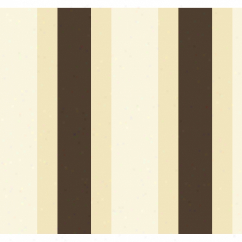 Broad Stripe Yellow & Brown Wallpaper