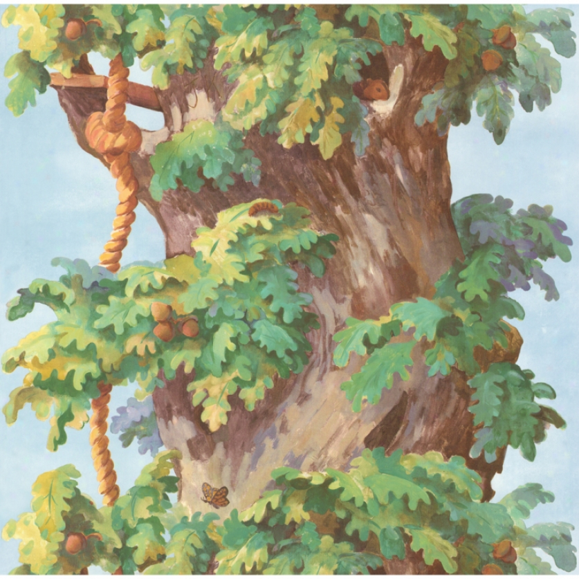 Build A Treehouse Tree Trunk Wallpaper Border
