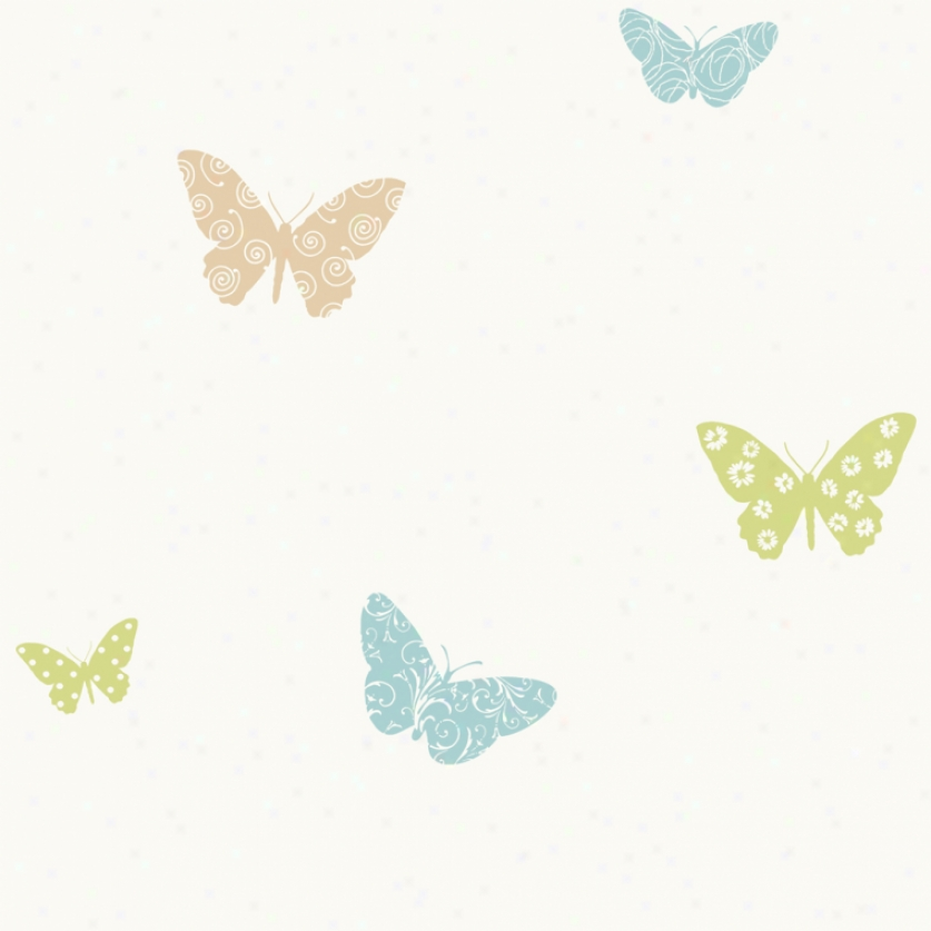 Butterfly Garden Earth Tones Wallpaper