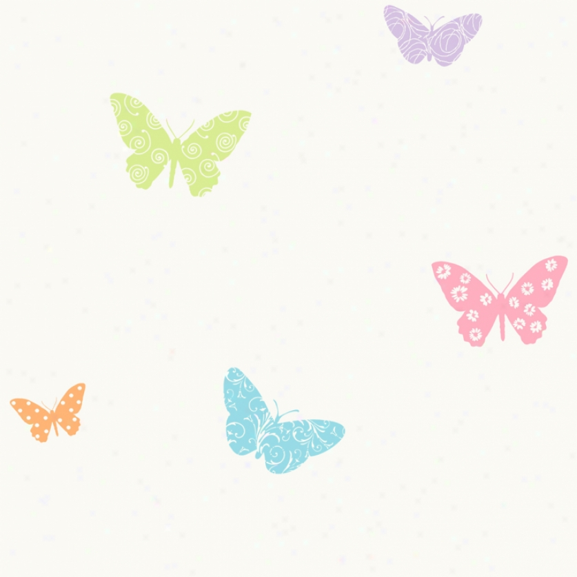 Butterfly Garden Pastel Wallpaper