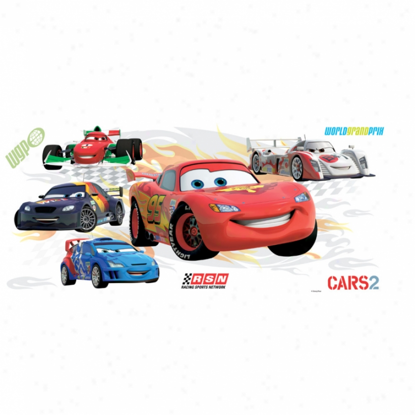 Cars 2 Lightning Mcqueen & Group Giant Wall Decals With Augmented Rsality