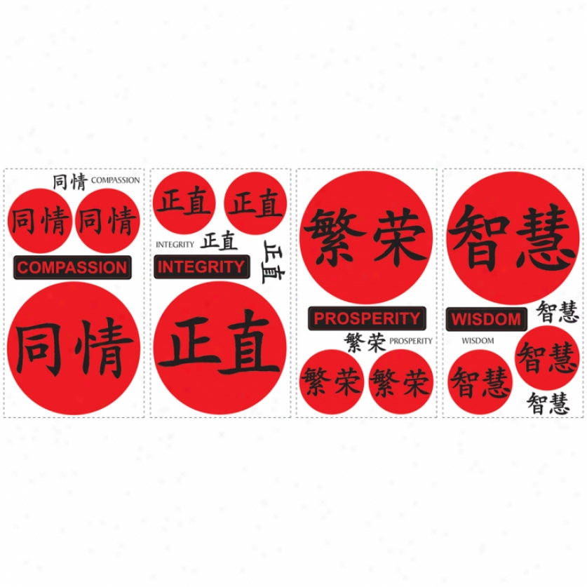 Chinese Virtues Wall Decalq