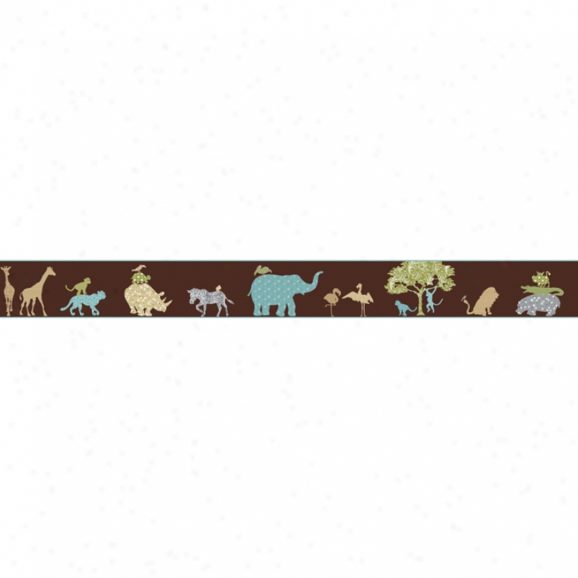 Colorful Animal Silhouettes Brown Wallpaper Border