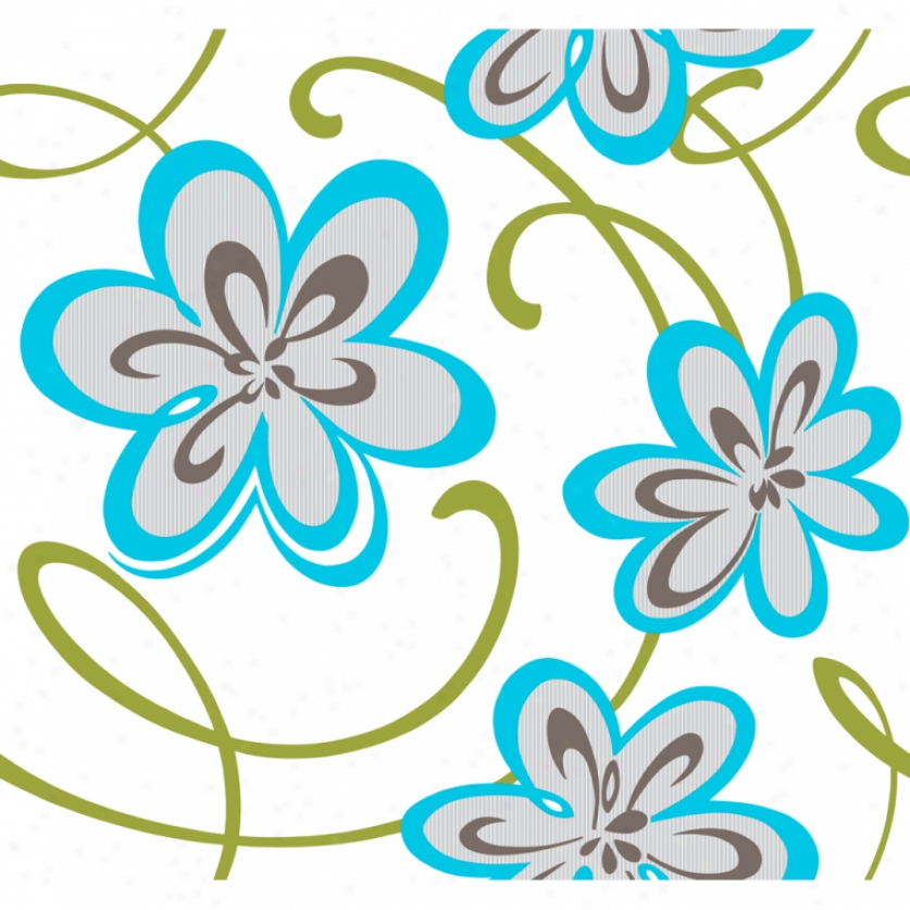 Colorful Glitter Floral Aqua & Green Wallpaper
