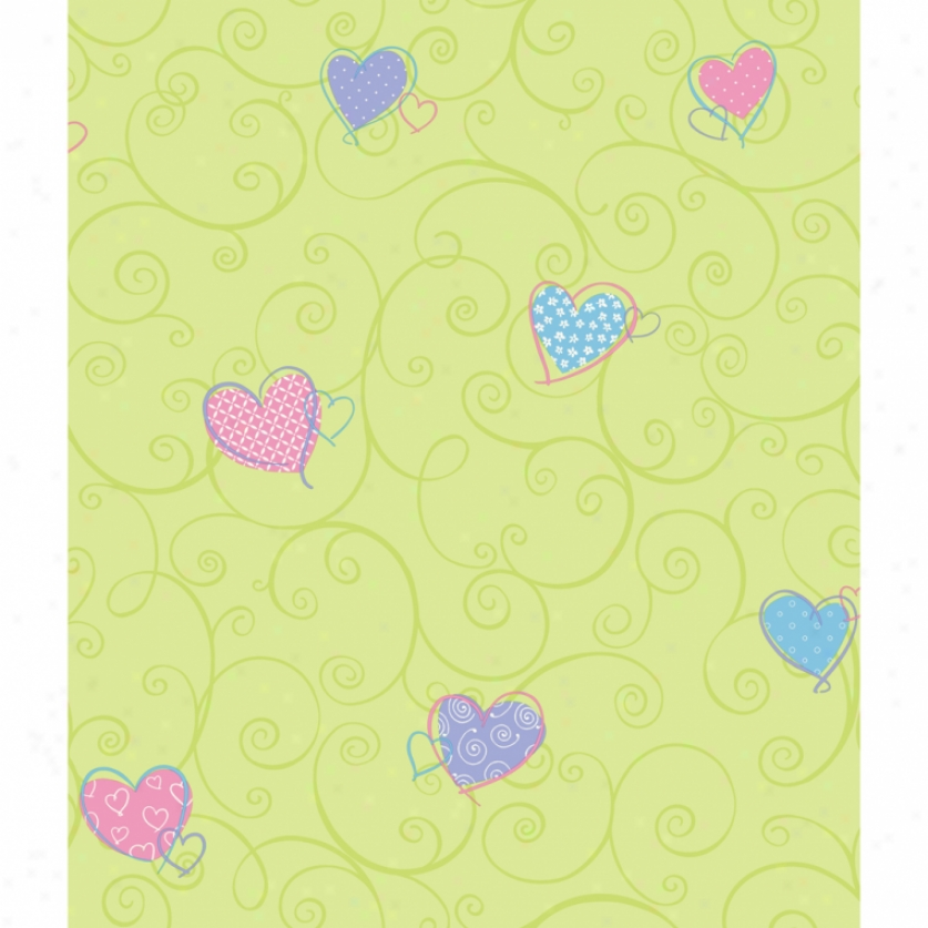Colorful Hearts Green Pastel Wallpaper