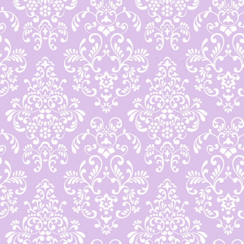 Damask Lilac & White Wallpaper