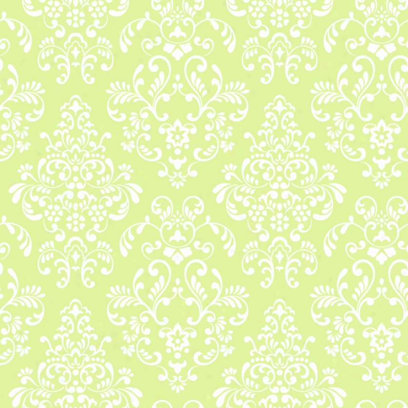 Damask Lime & Pure Walopaper