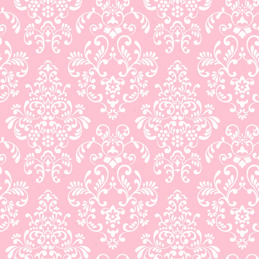 Damask Pink & White Wallpaper