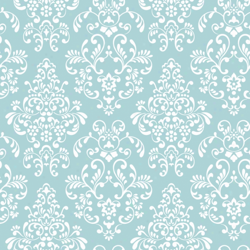 Damask Turquoise & White Wallpaper
