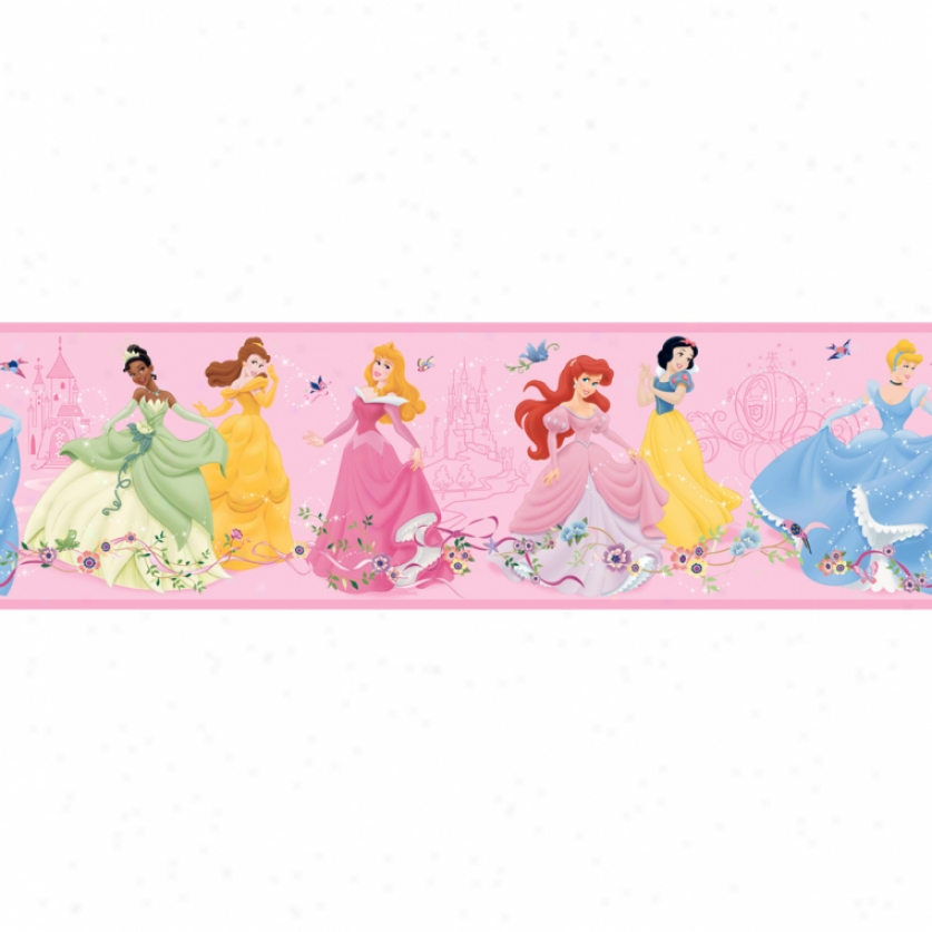 Dancing Princess Pink Prepasted Wallpaper Border