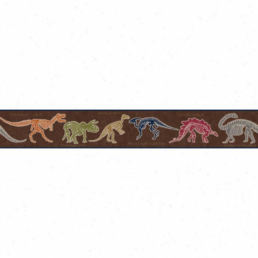 Dino Dig Brown Wallpaper Border