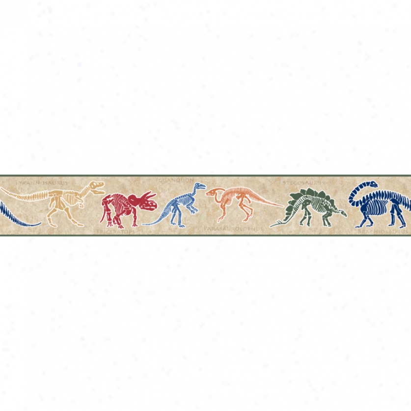 Dino Dig Light Brown Wallpaper Border