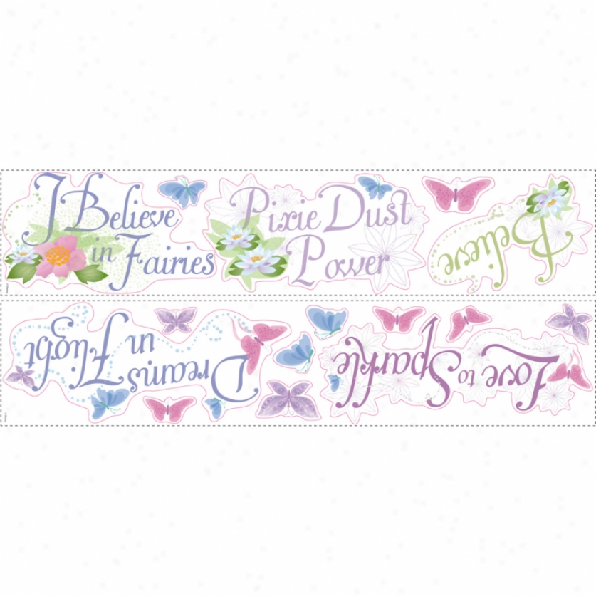 Disney Fairies Pbrases Wall Decals With Glitter