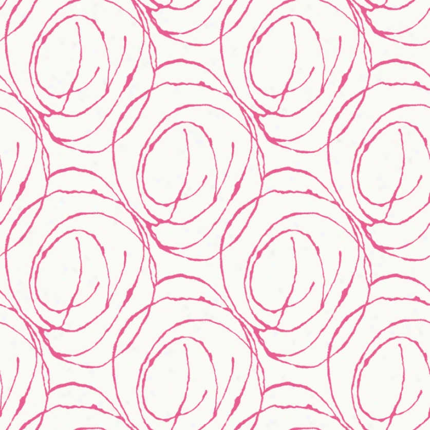 Doodle Circles White & Hot Pink Wallpaper