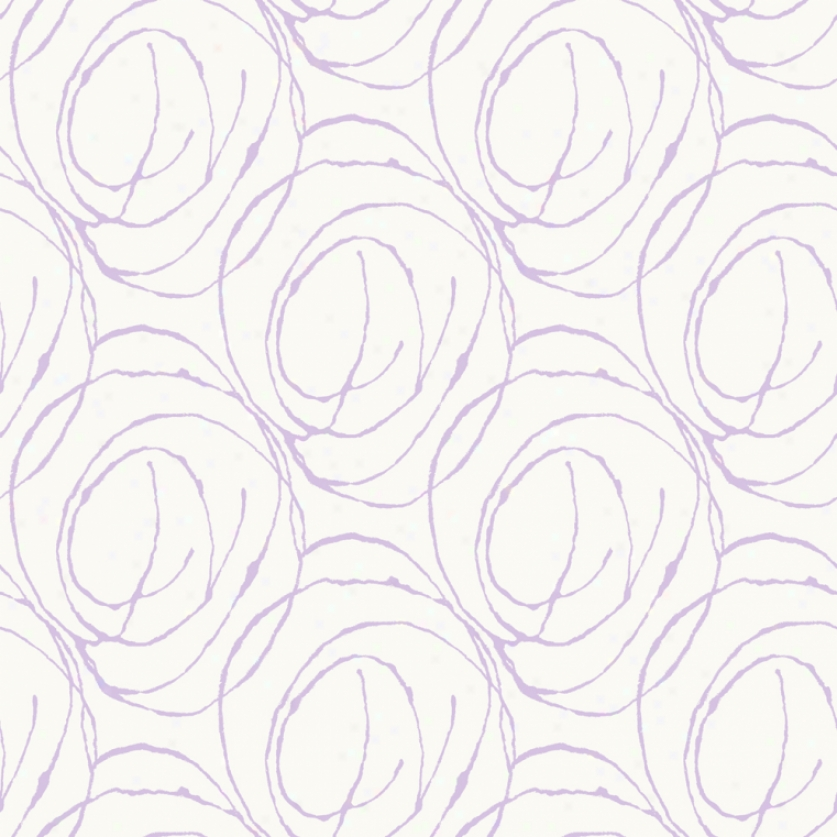 Doodle Circles White & Lilac Wallpaper